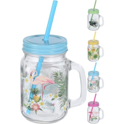 Drinkglas met Print + Rietje 450 ml
