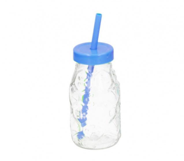 drinkfles met rietje 220 ml glas blauw/transparant
