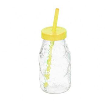 drinkfles met rietje 220 ml glas geel/transparant