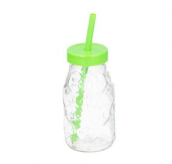 drinkfles met rietje 220 ml glas groen/transparant