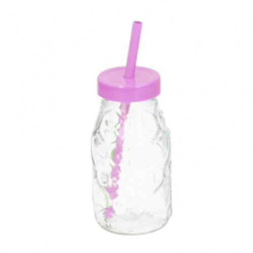 drinkfles met rietje 220 ml glas roze/transparant