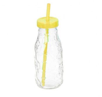 drinkfles met rietje 300 ml glas geel/transparant