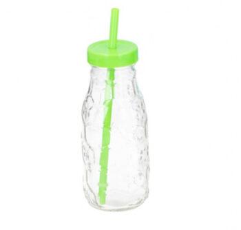 drinkfles met rietje 300 ml glas groen/transparant