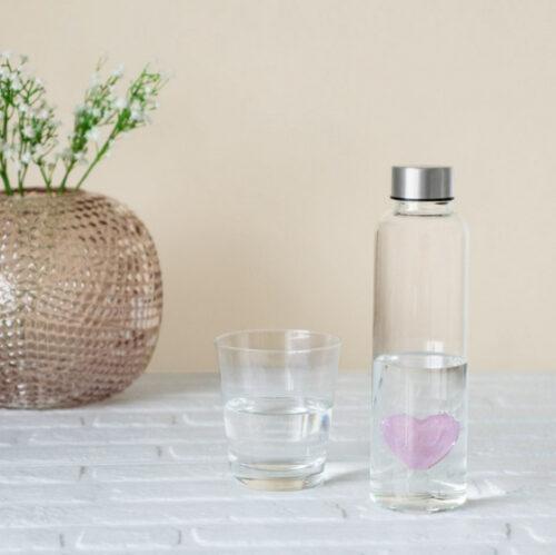 5 cm glas transparant/roze