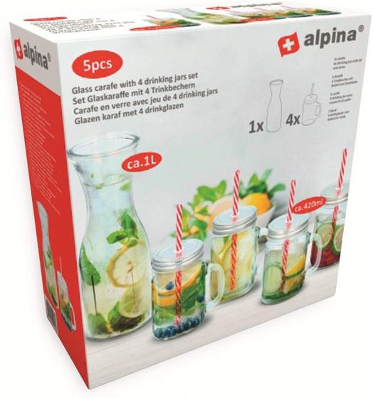 karaf met drinkglazen glas 420 ml / 1 liter 5-delig